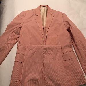 J Crew seersucker suit, red, 38R Coat Jacket